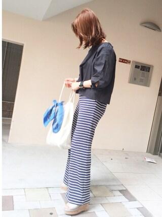 平井薫子さんの「Honeycomb Stripes パンツ(BED&BREAKFAST ベットアンドブレックファスト)」を使ったコーディネート