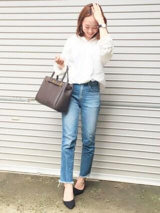 平井薫子さんの「80Sタイプライター1Washシャツ(ELFORBR エルフォーブル)」を使ったコーディネート