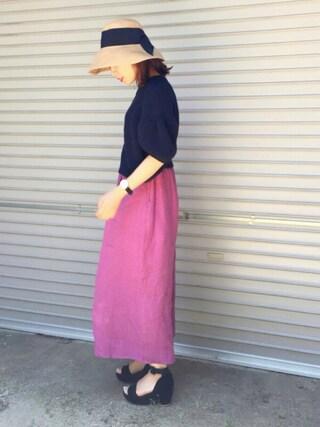 平井薫子さんの「CASHMERE LILY ショートセーター(GREED International グリード インターナショナル)」を使ったコーディネート