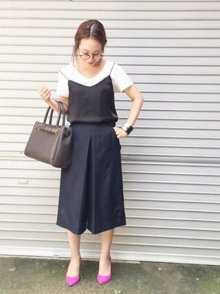 平井薫子さんの「サテンキャミソール◆(Deuxieme Classe ドゥーズィエムクラス)」を使ったコーディネート