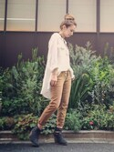 「Free People High-Low Cinched-Detail Button-Down Shirt(Free People)」 using this AsÜka looks