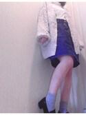 aymさんの「タック入りデニムコクーンスカート(w closet ダブルクローゼット)」を使ったコーディネート