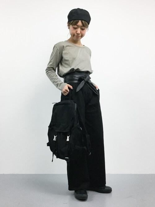 ZOZOTOWNkonabeさんのTシャツ/カットソー「セイヒンゾメ LONG Tシャツ◆(FRAMeWORK|フレームワーク)」を使ったコーディネート