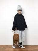 konabeさんの「ウールナイロンモッサポンチョコート(studio CLIP|スタディオクリップ)」を使ったコーディネート