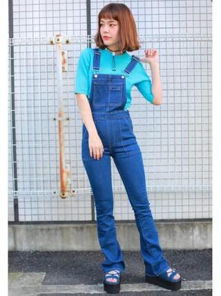 長澤メイさんの「半袖ちびニット(jouetie|ジュエティ)」を使ったコーディネート