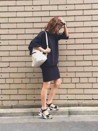 長澤メイさんの「c/pe sponge rever hobble dress(beautiful people|ビューティフルピープル)」を使ったコーディネート