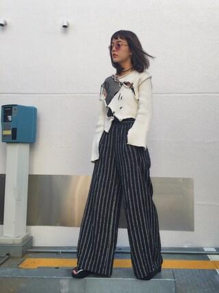 長澤メイさんの「ストライプジャガードパンツ(NINE|ナイン)」を使ったコーディネート