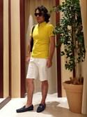 ikka MORIOKA STAFFさんの「GP鹿の子トリコトール無地ボタンダウンポロシャツ(ikka|イッカ)」を使ったコーディネート
