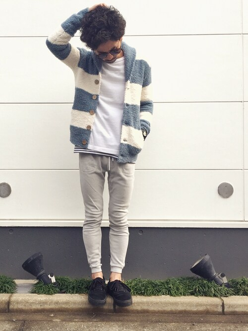 YUSUKE5さんの「662 Wide Border Shawl Cardigan(BAREFOOT DREAMS)」を使ったコーディネート