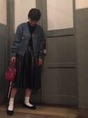 macoさんの「フェイクレザープリーツスカート(LE CIEL BLEU|ルシェルブルー)」を使ったコーディネート
