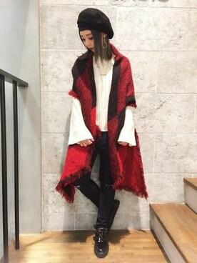 JEANASIS松山大街道店 JEANASIS 松山大街道店 STAFFさんのストール/スヌード「ブロックカラーストール/739154 (JEANASIS ジーナシス)」を使ったコーディネート
