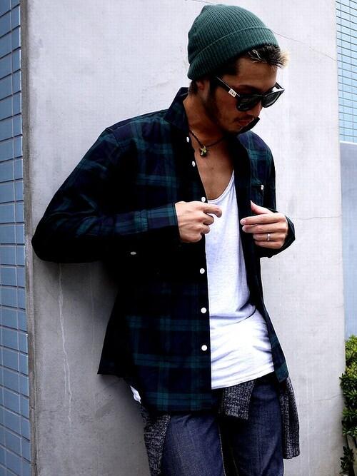 チェックシャツ着こなしメンズのシャツ・ブラウス「Montley 」を使ったコーディネート