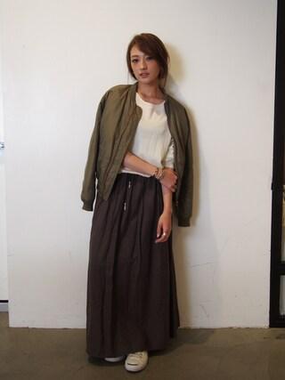 AZUSA  TAKAZONOさんの「【Lady like】コットンフレアマキシSK(Ungrid アングリッド)」を使ったコーディネート