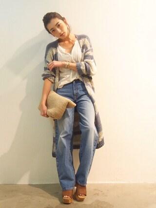 AZUSA  TAKAZONOさんの「【Lady like】ミックスヤーンニットカーデ(Ungrid|アングリッド)」を使ったコーディネート