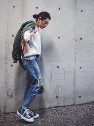 AZUSA  TAKAZONOさんの「【Casual】ヴィンテージプレーンスウェット(Ungrid|アングリッド)」を使ったコーディネート