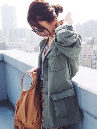 AZUSA  TAKAZONOさんの「【Casual】ウォッシュファティーグジャケット(Ungrid|アングリッド)」を使ったコーディネート