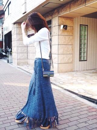 AZUSA  TAKAZONOさんの「【Lady like】かぎ針ラップマキシスカート(Ungrid|アングリッド)」を使ったコーディネート