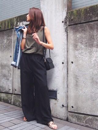 AZUSA  TAKAZONOさんの「【Ca】リネン混ワイドパンツ(Ungrid|アングリッド)」を使ったコーディネート