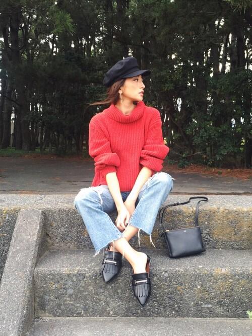 AZUSA  TAKAZONOさんの「モールヤーンタートルニット(Ungrid)」を使ったコーディネート