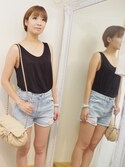 「FOREVER 21 Easy Boxy Tank(Forever 21)」 using this BON VOYAGE かほ looks