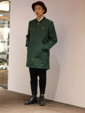 FRED PERRY 有楽町マルイ|KYOSUKE さんの「Fishtail Bomber Coat(FRED PERRY)」を使ったコーディネート