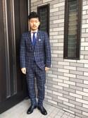 ゲソさんの「◆リネン混ウインドウペンパンツ(TAKEO KIKUCHI|タケオキクチ)」を使ったコーディネート