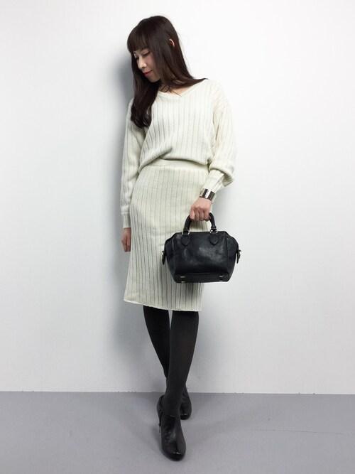 田中彩央里さんの「ワイドリブタイトスカート/セットアップ-2016AW-(INGNI)」を使ったコーディネート