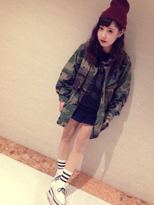 差し色ニット帽×コーディネート[2015秋冬]