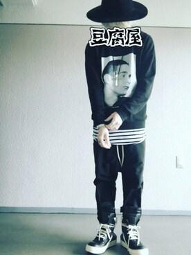 「Raf Simons Isolated Heroes Oversized Printed Cotton Sweatshirt(Raf Simons)」 using this 能天気お気楽馬鹿息子 looks