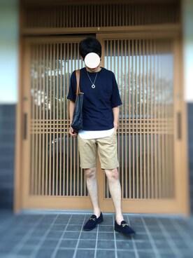 バイオさんの「【WEB限定】by ∴ エアスラブ ワイドクルーネック ハーフスリーブ カットソー MADE IN JAPAN(BEAUTY&YOUTH UNITED ARROWS)」を使ったコーディネート