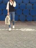 「Topshop Moto 'Jamie' High Rise Ripped Jeans (Blue) (Regular, Short & Long)(Topshop)」 using this howaiyan looks