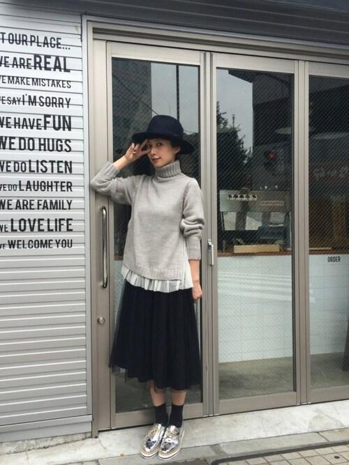 Kazumiさんのニット/セーター「【高橋愛さんプロデュース】ラブ&ピースプロジェクト 高橋愛さんデザイン すそチュールのタートルニット(haco!|ハコ)」を使ったコーディネート
