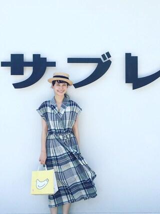 Kazumiさんの「bigチェック ロングワンピース(l'atelier du savon|アトリエドサボン)」を使ったコーディネート