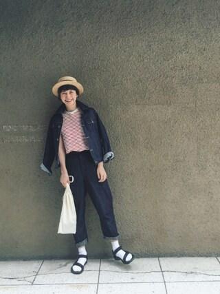 Kazumiさんの「鹿の子ボーダーシャツ(THE SHINZONE|ザ シンゾーン)」を使ったコーディネート