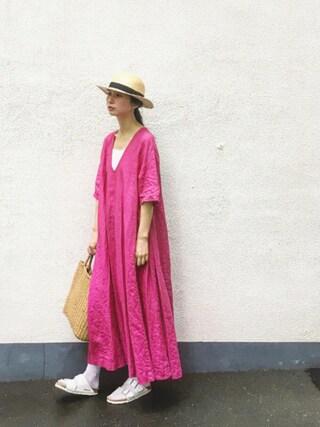 Kazumiさんの「製品染め たっぷりVロングワンピース(l'atelier du savon アトリエドサボン)」を使ったコーディネート