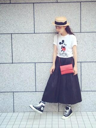 Kazumiさんの「ミッキーTシャツ(MIRROR OF Shinzone ミラーオブシンゾーン)」を使ったコーディネート