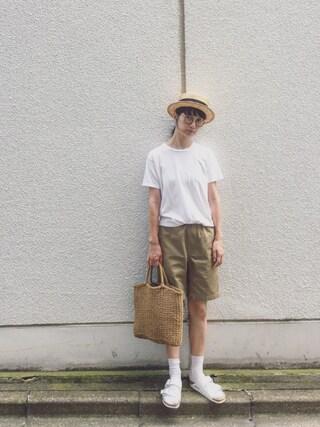 Kazumiさんの「Hanes×SHIPS AUTHENTIC PRODUCTS(ヘインズ×シップス・オーセンティック・プロダクツ): 2パック/Tシャツ Japan Fit■(SHIPS シップス)」を使ったコーディネート