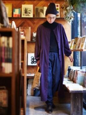 Kazumiさんの「サニークラウズ kazumiと作ったニットの三角帽(IEDIT|イディット)」を使ったコーディネート