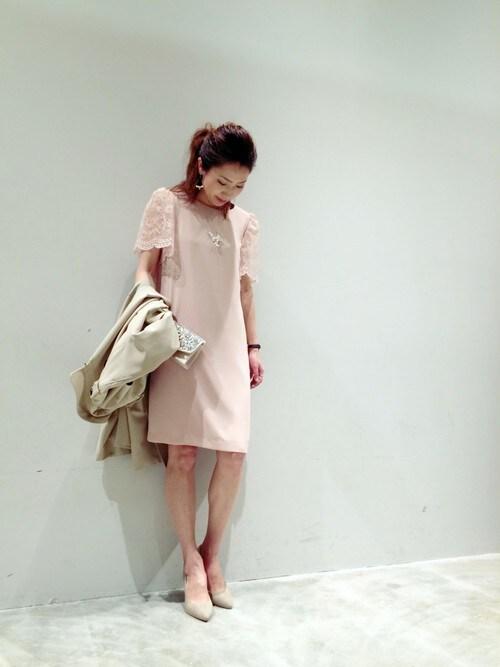 結婚式 ピンクドレス コーデ