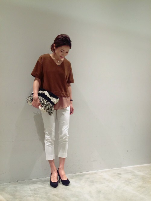 BLISS POINT イオンモール宮崎|BLISS POINT イオンモール宮崎店 Womens Staff2さんのTシャツ/カットソー「カットミラノリブレイヤードプルオーバー/717433(BLISS POINT|ブリスポイント)」を使ったコーディネート