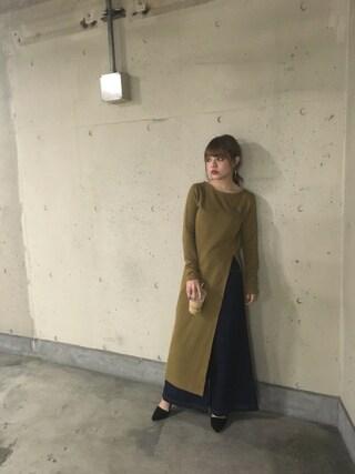 吉木千沙都さんの「サイドスリットマキシ TOPS(SLY スライ)」を使ったコーディネート