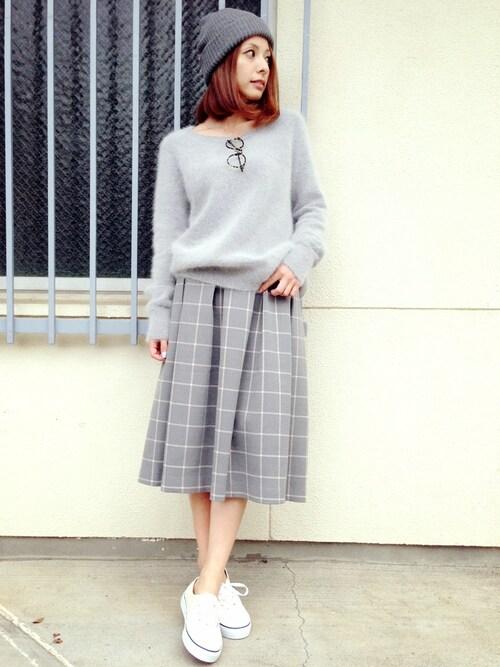 YUUKIさんの「チェックミッドカーフスカート(amie by miely)」を使ったコーディネート