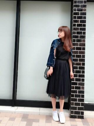 YUUKIさんの「ふんわりチュールスカート(coca|コカ)」を使ったコーディネート