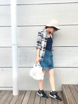 YUUKIさんの「コットンビエラモノトーンチェックシャツ【niko and...】(niko and...|ニコアンド)」を使ったコーディネート