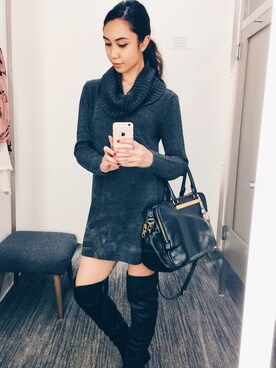 「ALDO Constancio Over the Knee Block Heel Boots - Black(ALDO)」 using this じゅりあ looks