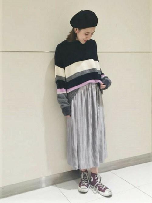 flowerさんの「blende color knit ~ブレンドカラーニット(flower)」を使ったコーディネート