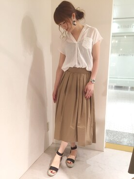 actuel 名古屋セントラルパーク店|Aki.kさんの「バックリボン2WAYスキッパーブラウス(actuel)」を使ったコーディネート