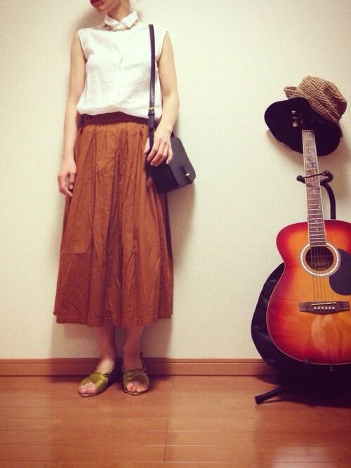kii586mutsuさんの「タブデザインタックギャザースカート(THE EMPORIUM)」を使ったコーディネート