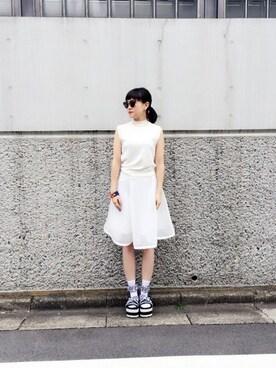 k3 PRESS|Nao Shinmuraさんの「COTTON HIGH NECK SLEEVELESS TOP(G.V.G.V.)」を使ったコーディネート