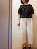 yuu♡canさんの「【WEB限定】○JOC ワイドタック パンツ(Jewel Changes|ジュエルチェンジズ)」を使ったコーディネート